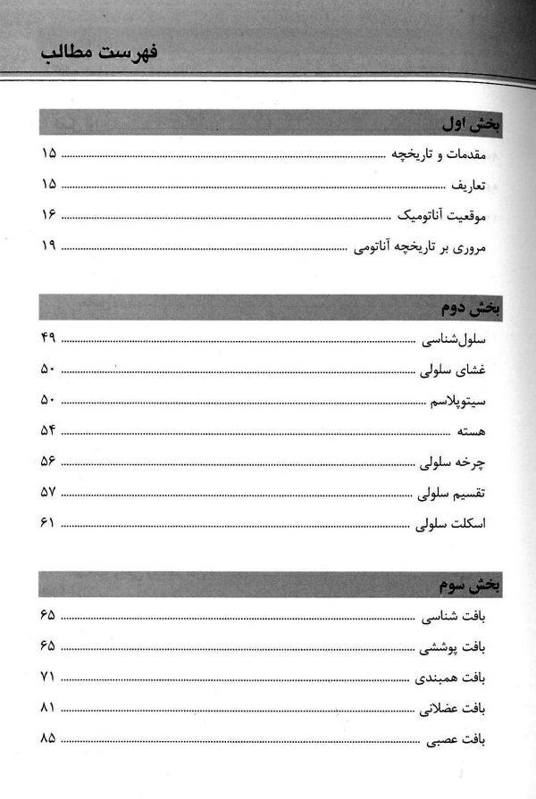 فهرست کتاب یادگیری آناتومی حسن زاده 1399