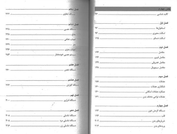 فهرست دوم فهرست کتاب یادگیری آناتومی حسن زاده 1399